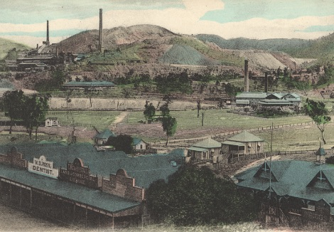 View of the town of Mount Morgan and the mine beyond